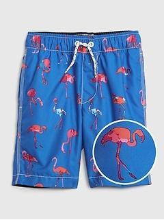 Kids Flamingo Swim Trunks