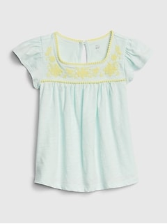 Toddler Embroidered Eyelet Pin tuck Top