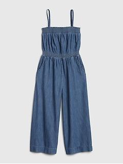 Denim Wide Leg Crop Jumpsuit