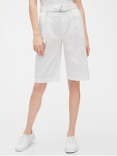 High Rise Belted Bermuda Shorts