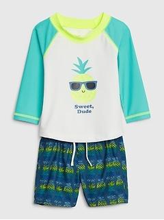 Baby Pineapple Rash Guard Swim Set