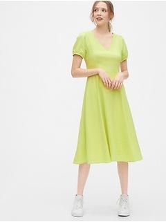 V-Neck Midi Dress in Linen