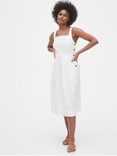 Apron Midi Dress in Linen-Cotton