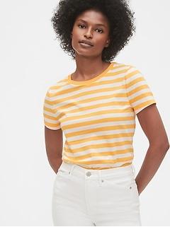 T-shirt ras du cou à manches courtes avec rayures rétro