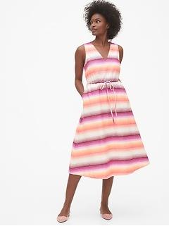 Sleeveless Midi Dress in Linen-Cotton