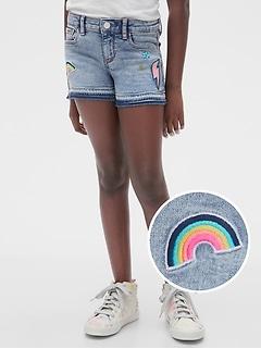 Kids Embroidered Patch Denim Shortie Shorts