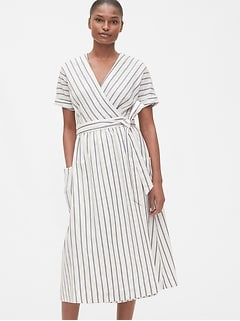 Short Sleeve Wrap-Front Dress in Linen-Cotton