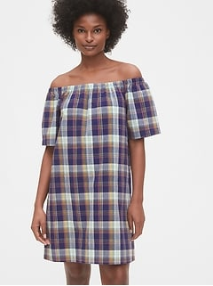 Off The Shoulder Plaid Dress