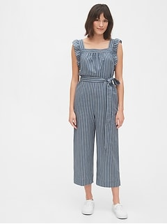 Ruffle Sleeve Jumpsuit in Linen-Cotton