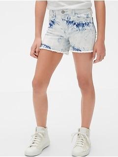 Kids Tie-Dye Denim Midi Shorts