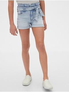 Kids High Rise Paperbag-Waist Denim Shorts