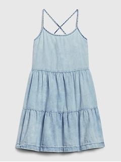 Kids Denim Tiered Dress