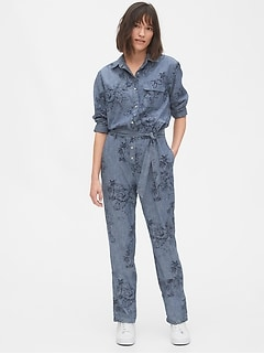 Print Denim Jumpsuit