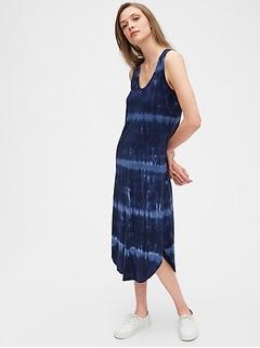 Scoopneck Tie-Dye Midi Dress