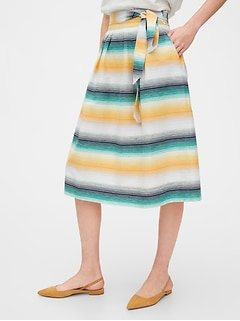 Tie-Belt Front Print Midi Skirt in Linen-Cotton