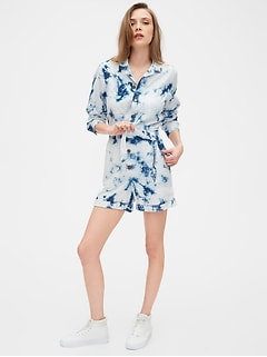 Long Sleeve Tie-Dye Romper in Linen-Cotton