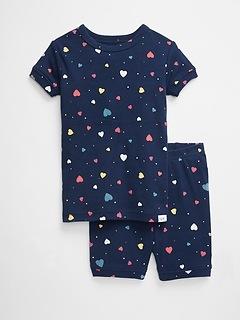 Pyjama court à motif de cœur pour tout-petit