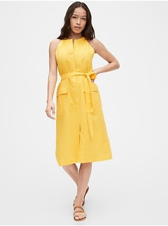 Halter-Neck Shirtdress in Cotton-Linen