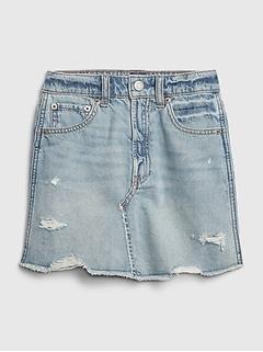 Kids High-Rise Destructed Denim Skirt