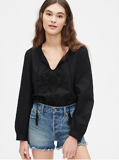 Embroidered Tie-Front Top in Linen-Cotton