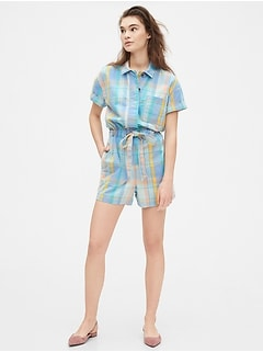 Short Sleeve Plaid Romper