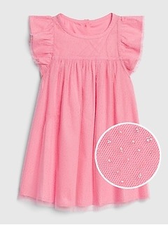Toddler Tulle Flutter Sleeve Dress