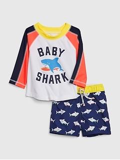 Baby Long Sleeve Shark Swim Set