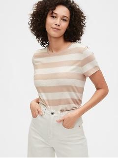 Shrunken Striped Short Sleeve T-Shirt
