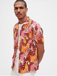 Print Short Sleeve Shirt in Poplin