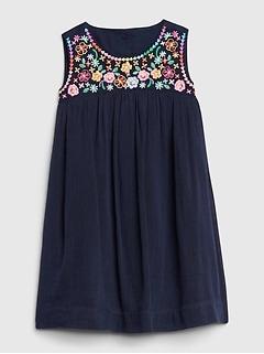 Toddler Floral Embroidered Dress