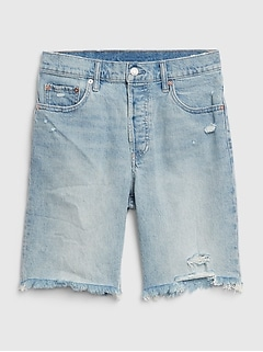 High Rise Distressed Bermuda Shorts
