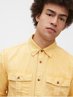 Linen-Cotton Utility Shirt Jacket