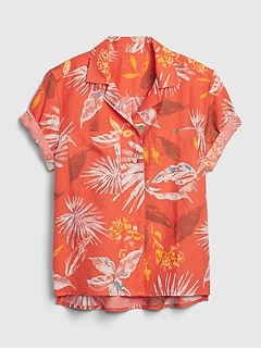 Print Shirt in Linen-Cotton