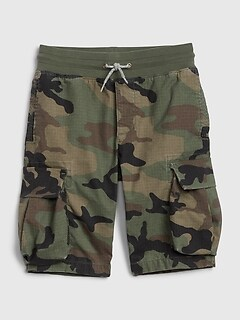 Kids Cargo Pull-On Camo Shorts with Stretch