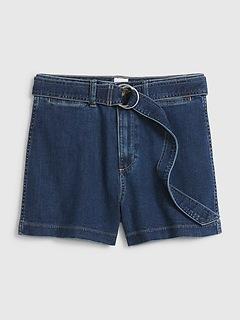 High Rise Denim Chino Shorts