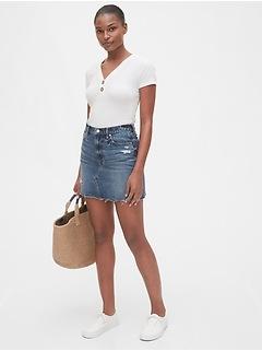 High Rise Distressed Denim Skirt