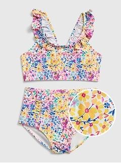 Kids Floral Ruffle Swim Two-Piece