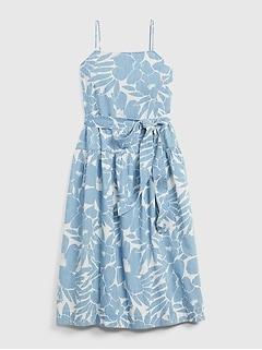 Apronneck Print Denim Maxi Dress