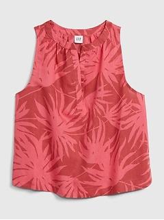 Sleeveless Print Top in Linen-Cotton