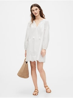 Long Sleeve Eyelet Dress in Poplin