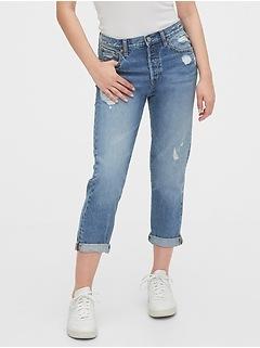 Mid Rise Destructed Boyfriend Jeans
