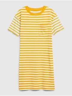 Easy Striped Short Sleeve Pocket T-Shirt Dress