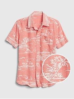Kids Short Sleeve Linen Print Shirt