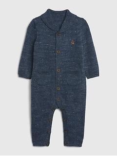 Une-pièce en tricot à col châle pour bébé