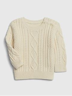 Pull en tricot torsadé pour bébé