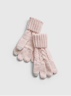 Kids Smartphone Cable-Knit Gloves