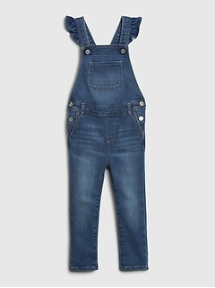 Toddler Denim Ruffle Skinny Overalls with Washwell™