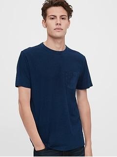 T-shirt à manches courtes à poche en fil flammé