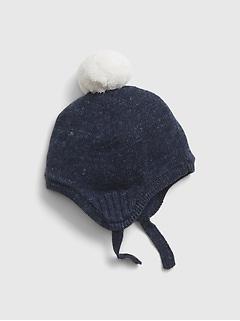 Tuque en tricot à pompon pour bébé