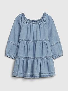 Robe étagée en denim pour bébé